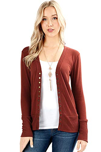 Cardigans for Women Long Sleeve Knit Press-Stud Button Sweater Regular & Plus - Dark Rust (Size 1X)