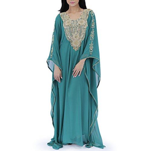 Zahra's Houte Couture Women's Dubai Style Kaftan Caftan Farasha Abaya Evening Maxi Dress (Emerald Khatoon)