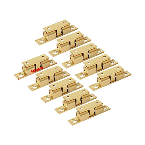 LOOTICH Brass Door Double Ball Tension Catches 50mm for Cabinet Kitchen Bathroom Cupboards Wardrobes Roller Latches Silent Locks Stopper (10 Pcs) ()