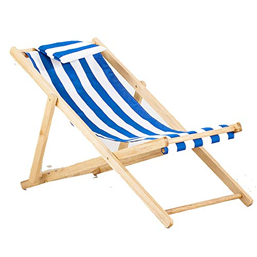 HUIFANG Beach Chair Solid Wood Recliner Folding Canvas Chair Lunch Break Chair Chair Outdoor Portable Chair Accompanying Wooden Chair Lazy Chair A (Color : B1)