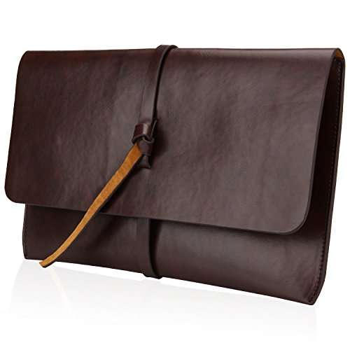 Price comparison product image Bagerly Unisex PU Leather Envelope Sleeve Handheld Clutch Purse (Brown)