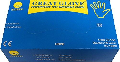 Poly Clear Gloves - GREAT GLOVE HDPE500-XL-CS High Density Polyethylene (HDPE) Foodservice Gloves, Powder-Free, Latex-Free, Economical, X-Large, Clear (Pack of 10000)