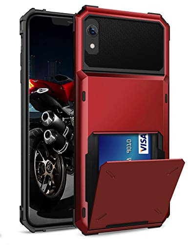 - ELOVEN Case for iPhone XR Case,[Card Slot][Shock Absorption Cover] Wallet Card Holder Hidden Credit Card ID Cover Heavy Duty Drop Protection Rugged Bumper Protective Cover for Apple iPhone XR,Red