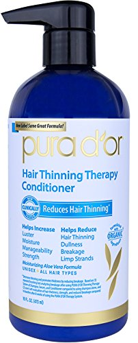PURA D'OR Hair Thinning Therapy Conditioner for Added Moisture, Infused with Organic Argan Oil, Biotin & Natural Ingredients, for All Hair Types, Men and Women, 16 Fl Oz (Packaging may vary)