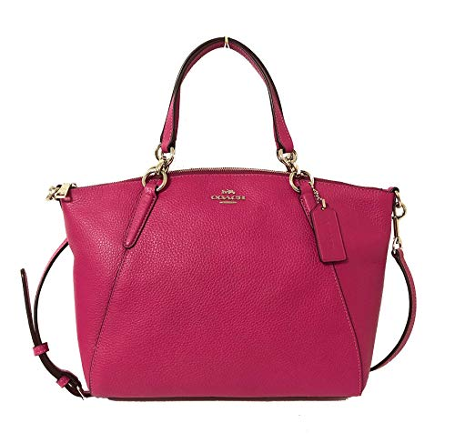 Coach Leather Small Kelsey Cross Body Bag (Small, SV/Cerise)