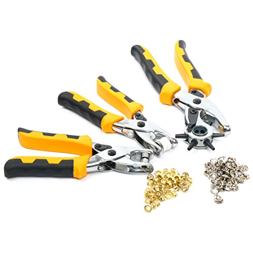 Eyelet Plier (Yaetek Hole Punch Tool - Eyelet and Press Stud Pliers Set Heavy Duty Revolving Punch Plier Metal Tool for Leather Belt, Saddle, Watch Strap, Shoe, Fabric, Paper, etc)