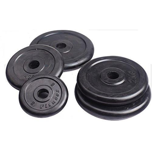 LiveUP Sports - Gewicht Disc 36Kg Set 8 pcs Loch 28mm Gummi Gusseisen Langhantelstange 2pz1kg + 2pz2Kg + 2pz5kg + 2pz10Kg