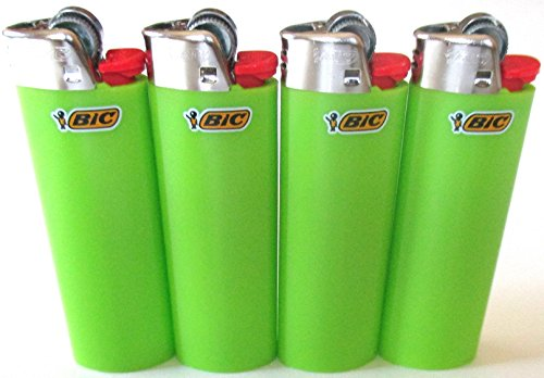 Bic Lime Green Classic Full Size Lighters New Lot of 4 by BIC