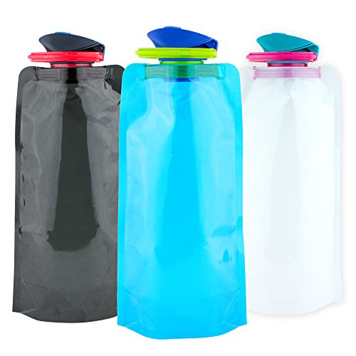 Brand Free Collapsible Water Bottle Carabiner - 24oz BPA Free Travel Water Bottle - Lightweight, Portable, Foldable, Durable, Flat Water Bottle Hiking, Outdoors, Sports