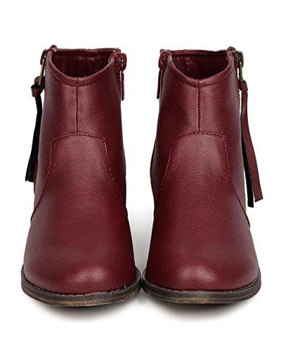 Breckelles Cg57 Women Leatherette Zip Kwast Enkelkrupsbootsie - Wijn