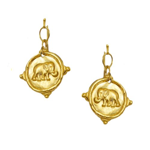 Susan Shaw Polished Gold Plated Handcast Elephant Dangle (24k Elephant Earrings)