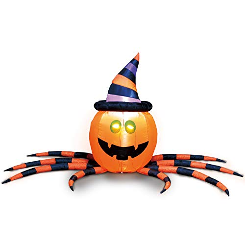 Joiedomi Halloween 7 FT Long Inflatable Pumpkin Spider with Build-in LEDs Blow Up Inflatables for Halloween Party Indoor, Outdoor, Yard, Garden, Lawn Decorations