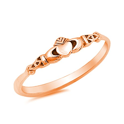 Petite Dainty Heart Promise Claddagh Ring Rose Gold Plated 925 Sterling Silver, 7