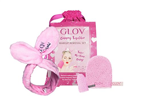 GLOV Bunny Togheter Set - With 1.The ultra-plush Bunny Ears Headband keeps your hair out of the way. 2.Glov On-The-Go helps you to remove your makeup leaving your skin smooth - De Soleil Band