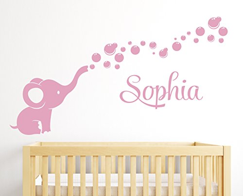 Name Elephant Bubbles Wall Decal Girl Nursery Decor