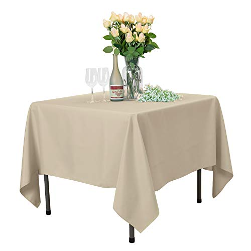 VEEYOO Square Tablecloth 85 inch - Solid Polyester Table Cover for Wedding Restaurant Party Coffee Shop Picnic, Beige Table Cloth