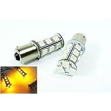 LEDIN 2x Amber High Power 18 SMD LED Back Up Reverse Light Bulb 1156 BA15s 7506 3496