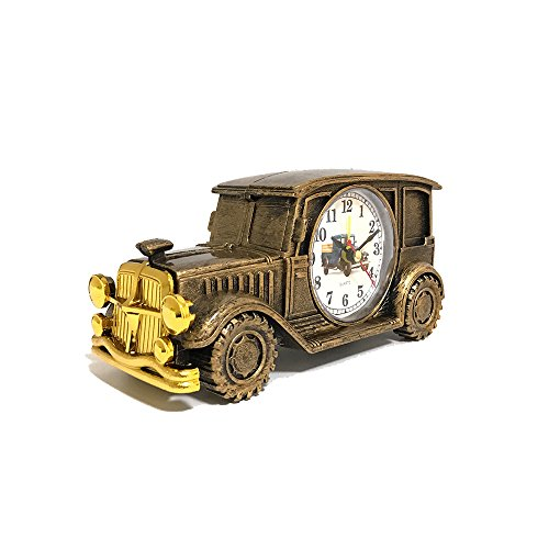 ROOVON Desk Shelf Alarm Clock Classic Vintage Car Model Electronic Clock Desk Shelf Decoration for Kids Children Sport Fans Gift, Bronze ()