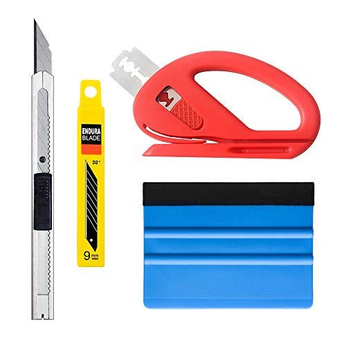 Vehicle Vinyl Wrap Window Tint Tools Kit for Car Wrapping 1 Set with Retractable Knife 30 Degree Snitty Vinyl Cutter Felt Squeegee ()