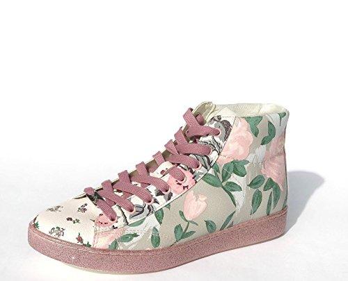 Coach Womens C204 High Top Floral Sneakers Shoes Khaki Pink 7.5 (Tops Coach High)