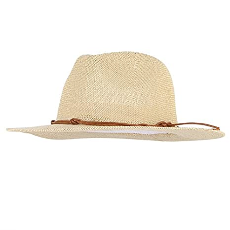 f9030c2b31d Image Unavailable. Image not available for. Color  ALWLj Breathable Hollow  Out Large Brim Men Straw Hats Beach Sun Hat Adjustable Jazz Fedora Cap