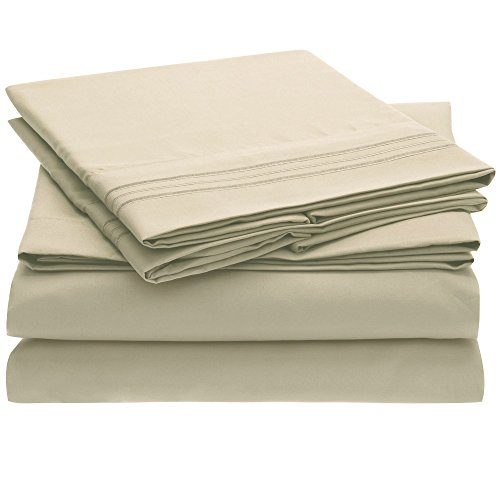 Harmony Sweet Sheets Bed Sheet Set - 1800 Double Brushed Microfiber Bedding - Deep Pocket, Hypoallergenic - Wrinkle, Fade, Stain Resistant Sheets - 4 Piece (Queen, Beige) - Twin Beds Mart Wal