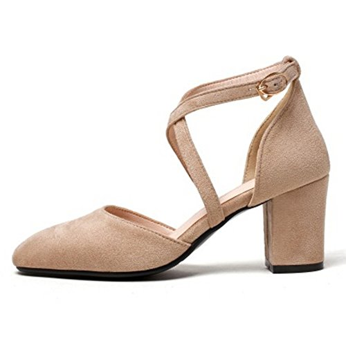 Coolcept Mujer Moda Cruzado Correa Sandalias Cerrado Tacon Ancho Zapatos Albaricoque