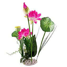 Green Leaf Fuchsia Artificial Lotus Plant Aquascaping for Aquarium