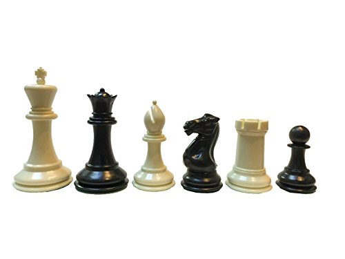 Tournament Staunton Chessmen Set - WE Games Ultimate Tournament Staunton Chessmen - Triple Weighted Black & Cream Plastic Set with 3.75 Inch King