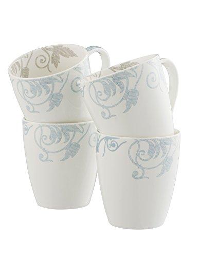 (Belleek Novello 4 Mugs Set, Duck Egg)