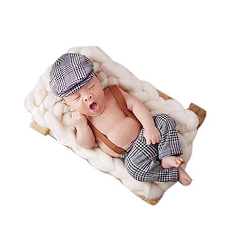 (Baby Photography Props Boy Girl Blanket Stretch Wrap Swaddle for Photo Shoot Hat Blanket Outfits Newborn Photography (Figure B))