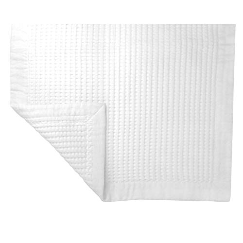 Premium Reversible Cotton Waffle Bath Mat Washable Fast Dry Super Absorbent Floor Towel, Luxurious Extra Plush Hotel Spa Grade Quality, Good Grip for Bathroom Shower or Bathtub (White)