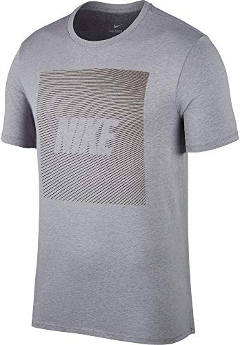 (Nike Men's Dry Swoosh Graphic T-Shirt (Wolf Grey, Large))