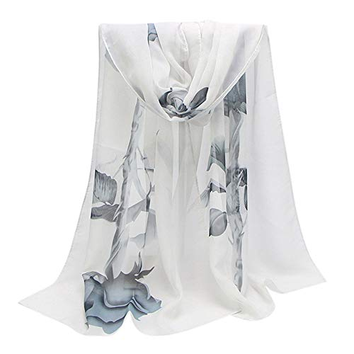 Silk Vest Print (Fashion Scarfs for Women Hot Sale,DEATU Ladies Rose Long Soft Wrap Chiffon Scarf Shawl(White))