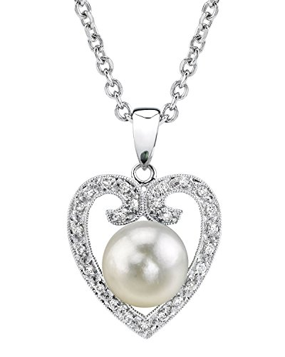 South Sea Cultured Pearl & Diamond Heart Shaped Pendant Necklace in White Gold