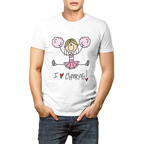 - Cheering Pink Stick Figure Cheerleader and Cheerleading Men's Short Sleeve T-Shirt