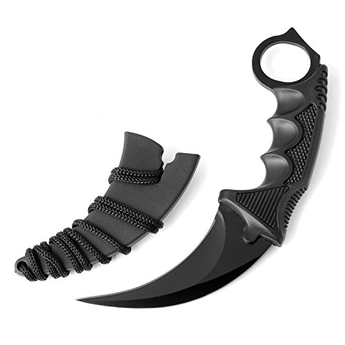 kkwolf CS-GO Stainless Steel Karambit Tactical Pocket Knife with Sheath and Cord, Fixed Blade Claw Knife Neck Knife for Outdoor Survival, Camping, Hunting or self defenses