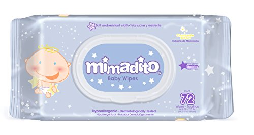 Baby Wipes by MIMADITO – Made With Natural Extracts, Purified Water. Light Scent and Soft Cloth. Keep Your Baby Sensitive Skin Fresh and Clean. A Must Have in Your Diaper Bag. Dispenser Pack 72ct.