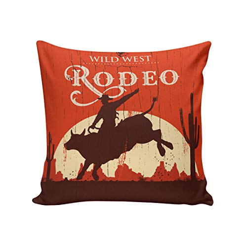 Vintage Throw Pillow Cushion Cover,Square 18 x 18inch Satin Fabric two Sides,Rodeo Cowboy Riding Bull Wooden Old Sign Western Wilderness at Sunset Image, Pillow Sham Cases for Couch Sofa Chair Cushion