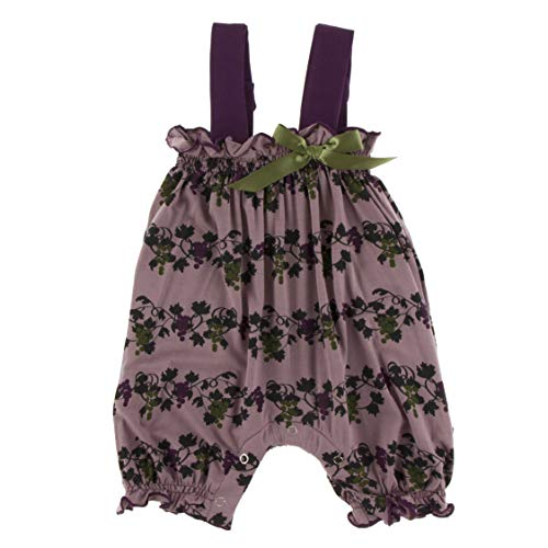 (Kickee Pants Little Girls Print Gathered Romper with Bow - Raisin Grape Vines, 12-18 Months)