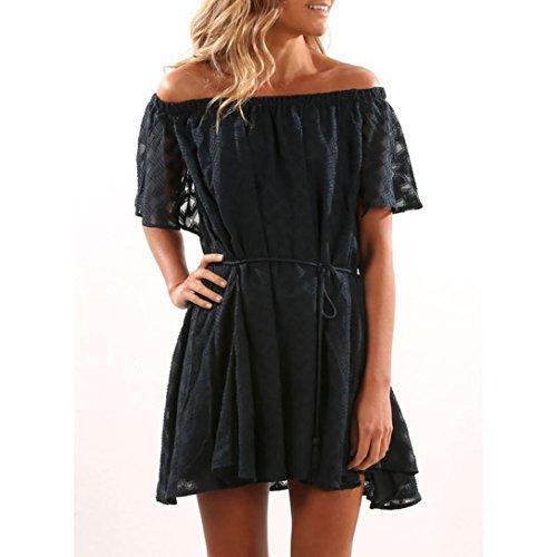 vovotrade negro Mujeres ruffled sólido fuera del hombro mini vestido casual