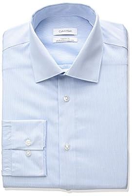 Calvin Klein Men's Non Iron Regular Fit Thin Stripe Dress Shirt