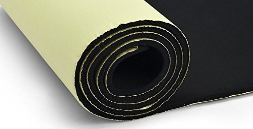 "Primode Sponge Neoprene Roll Black Finished With Fabric With Adhesive Bottom For Multi Purpose Use, 12"" X 54"" X 1/8"" (Sheet Flooring Adhesive)"
