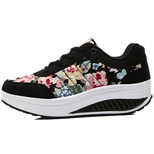 Platform Black Running Weight Women's Walking Solshine Athletic 7 Light Heel Fitness Go Wedge Shoes xFpIanf7I