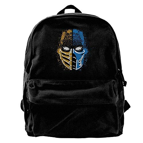 Antondfgarles GEE Scorpion Vs Sub-Zero Mortal Kombat Canvas Backpack For School Travel Rucksack (Fits Up To 14 Inch Laptop) -