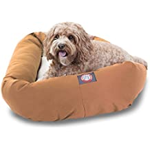 32 inch Khaki & Sherpa Bagel Dog Bed By Majestic Pet Products