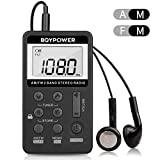 Personal AM FM Pocket Radio, BQYPOWER Portable Mini Digital Tuning Walkman Radio with Rechargeable Battery and Earphone for Walk/Jogging/Gym/Camping