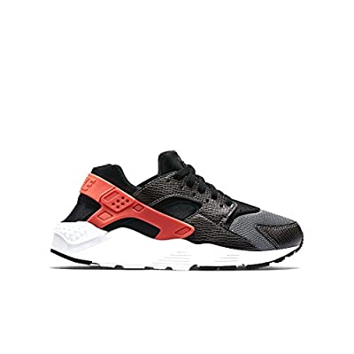 nike huarache run (GS) trainers 654275 sneakers shoes (5 M US Big Kid, black bright crimson cool grey white 010)