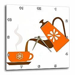3dRose dpp_165478_3 Pouring Coffee in Orange Artwork Wall Clock, 15 x 15