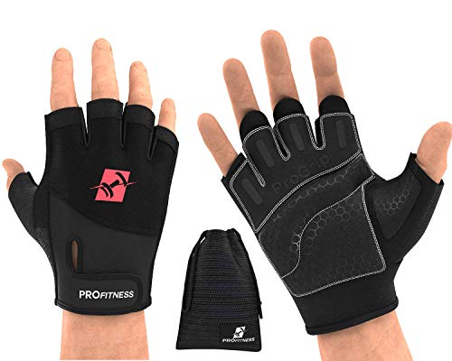 ProFitness Weight Lifting Workout Gloves - W/Non-Slip Silicone Grip Padding to Avoid Calluses - for Crossfit, WODs, Weightlifting, Gym Work Out Training - with Wrist Wrap Support for Men & Women
